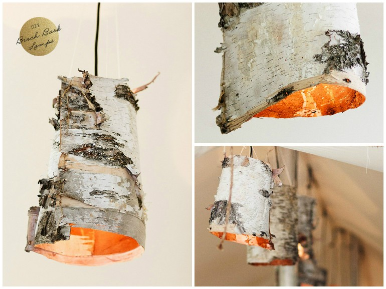 DIY Birch Bark Wood Pendant Lighting - wood-lamps, pendant-lighting