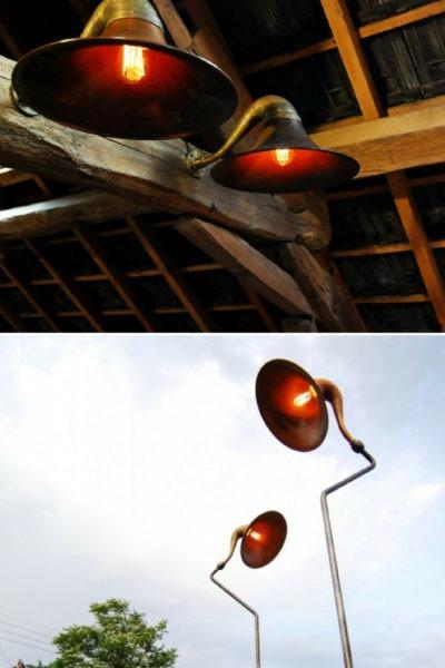 Gramophone Nightstand and Antique Floor Lamp