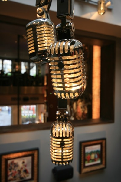 Microphone Light Fixture from Hard Rock Cafe - restaurant-bar, pendant-lighting