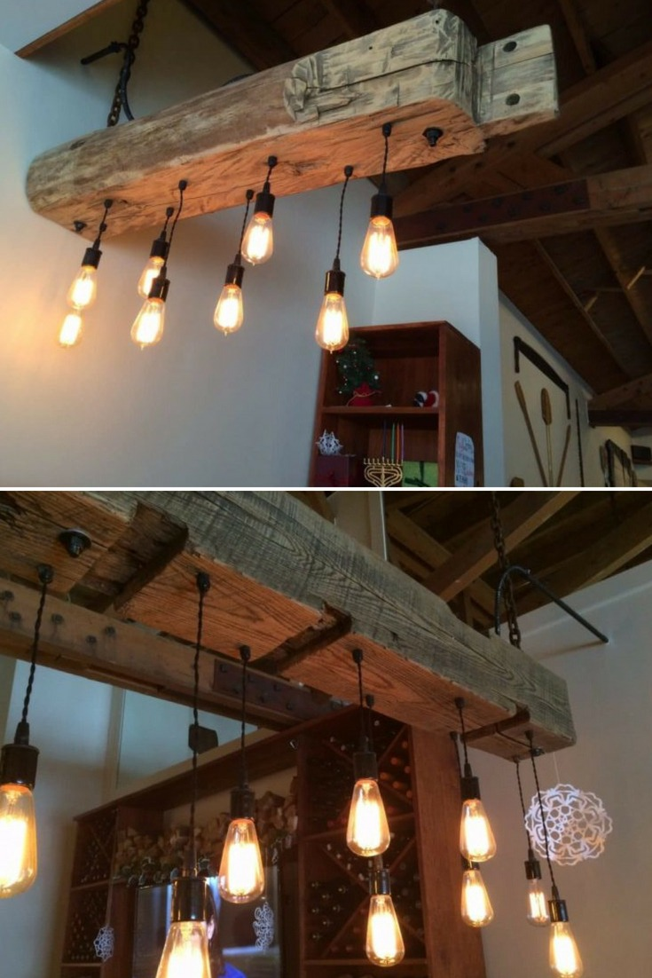 Rustic Wood Light Fixture with Reclaimed Beam