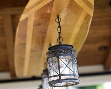 Creative Beach Wooden Surfboard Light Fixture