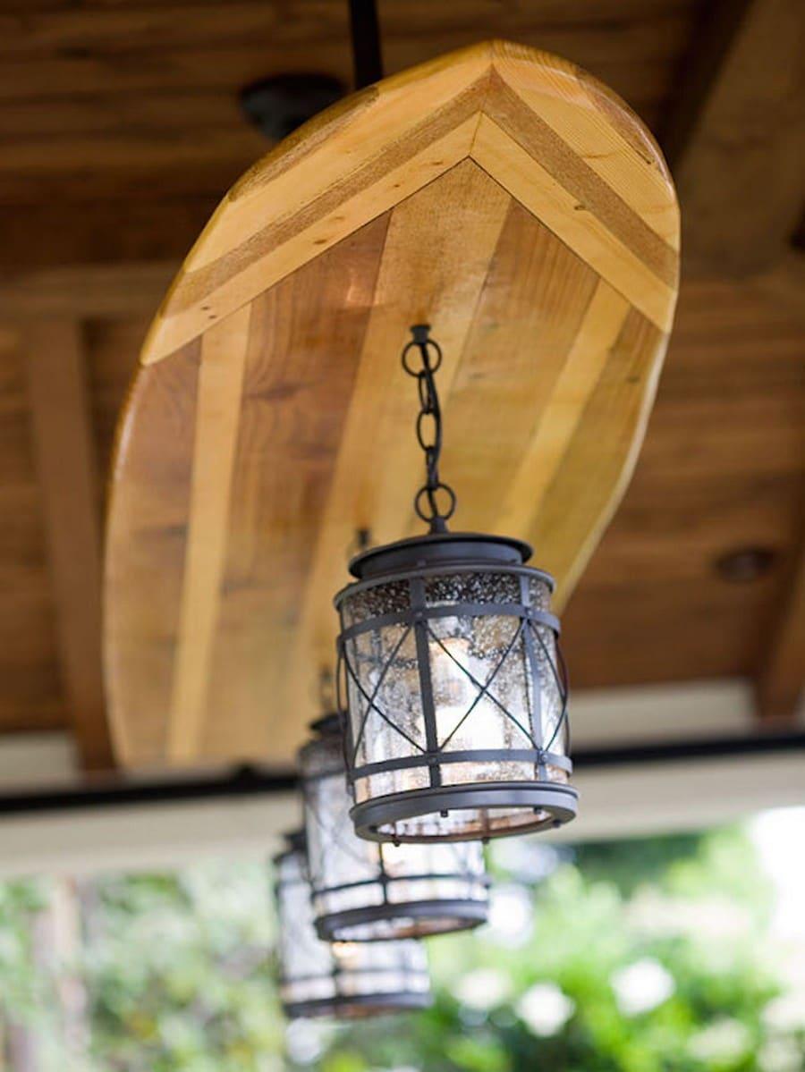 Creative beach wooden surfboard light fixture id lights for Outdoor ceiling lights for porch