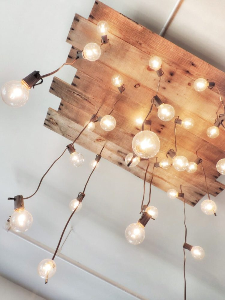 DIY: Handmade Reclaimed Pallet Chandelier - wood-lamps, flush-mount-lighting
