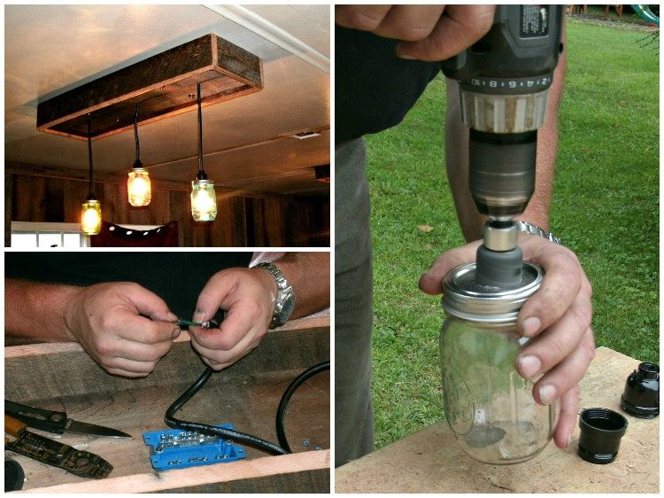 DIY Tutorial: Mason Jar Chandelier Flush Mount Lighting Wood Lamps