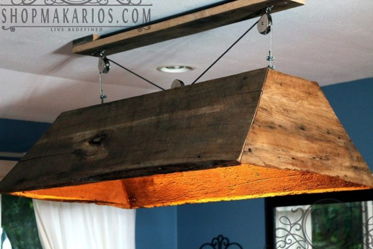Hanging Barn Wood Chandelier - wood-lamps, restaurant-bar, flush-mount-lighting