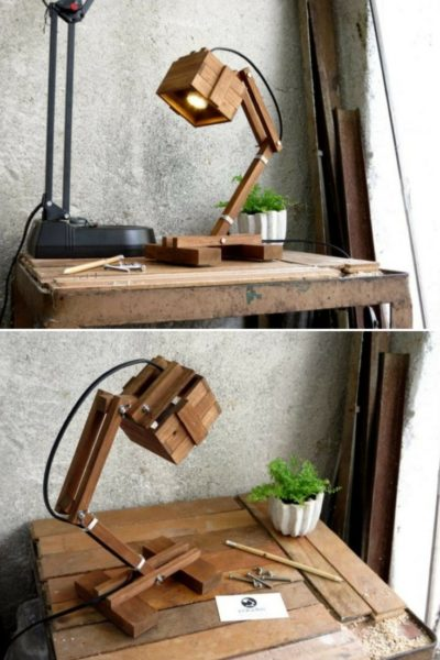Office Wooden DIY LED Desk Lamp