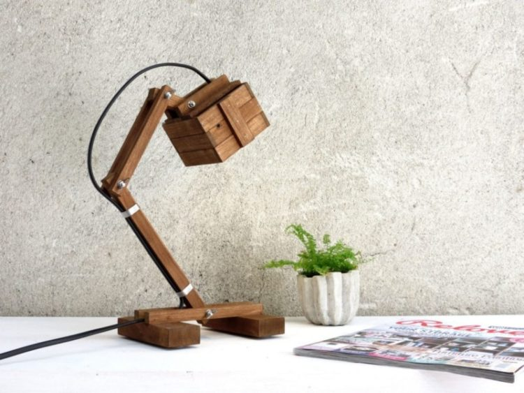 Office Wooden DIY LED Desk Lamp Desk Lamps Wood Lamps