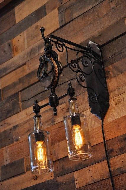Double Whiskey Bottles Pulley Pendant Light Wall Lamps & Sconces