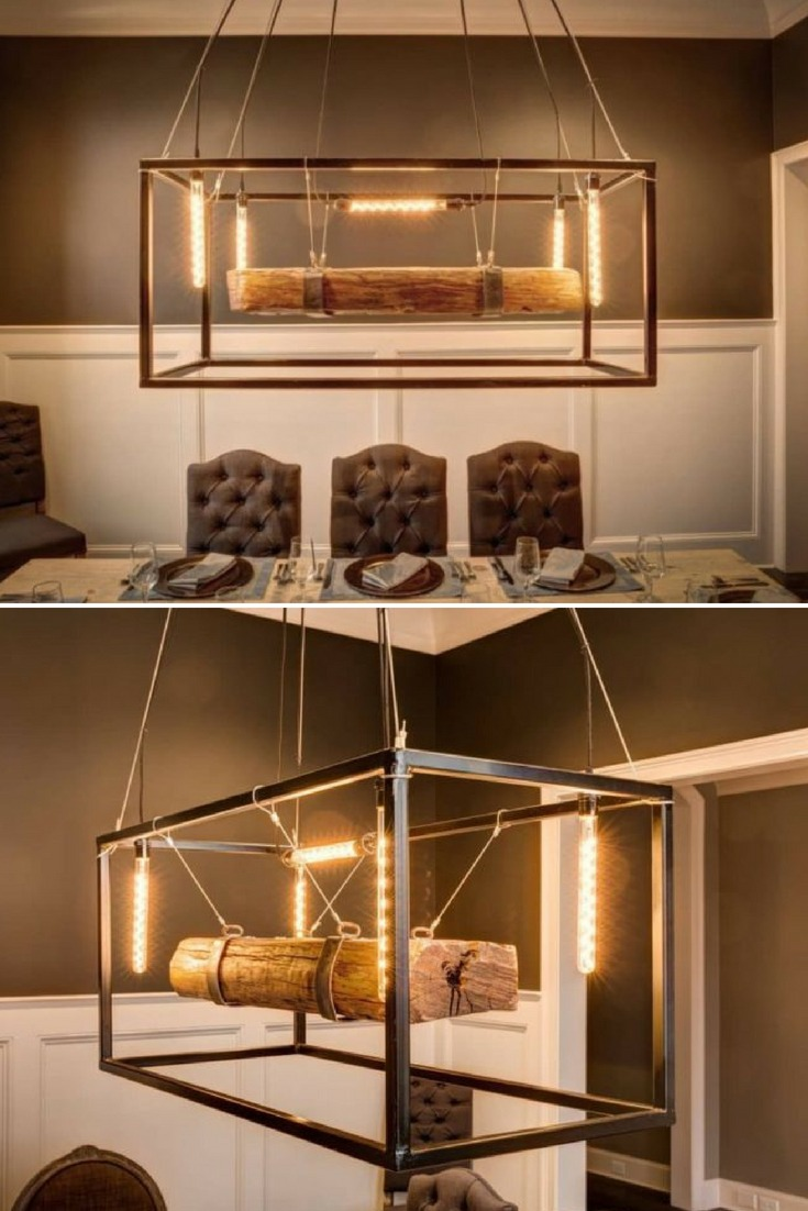 Metal Framed Wood Beam Chandelier