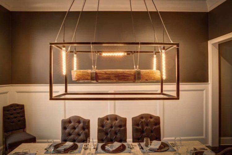Metal Framed Wood Beam Chandelier - wood-lamps, restaurant-bar, chandeliers