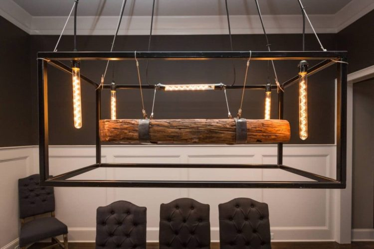 Metal Framed Wood Beam Chandelier - wood-lamps, restaurant-bar, chandeliers