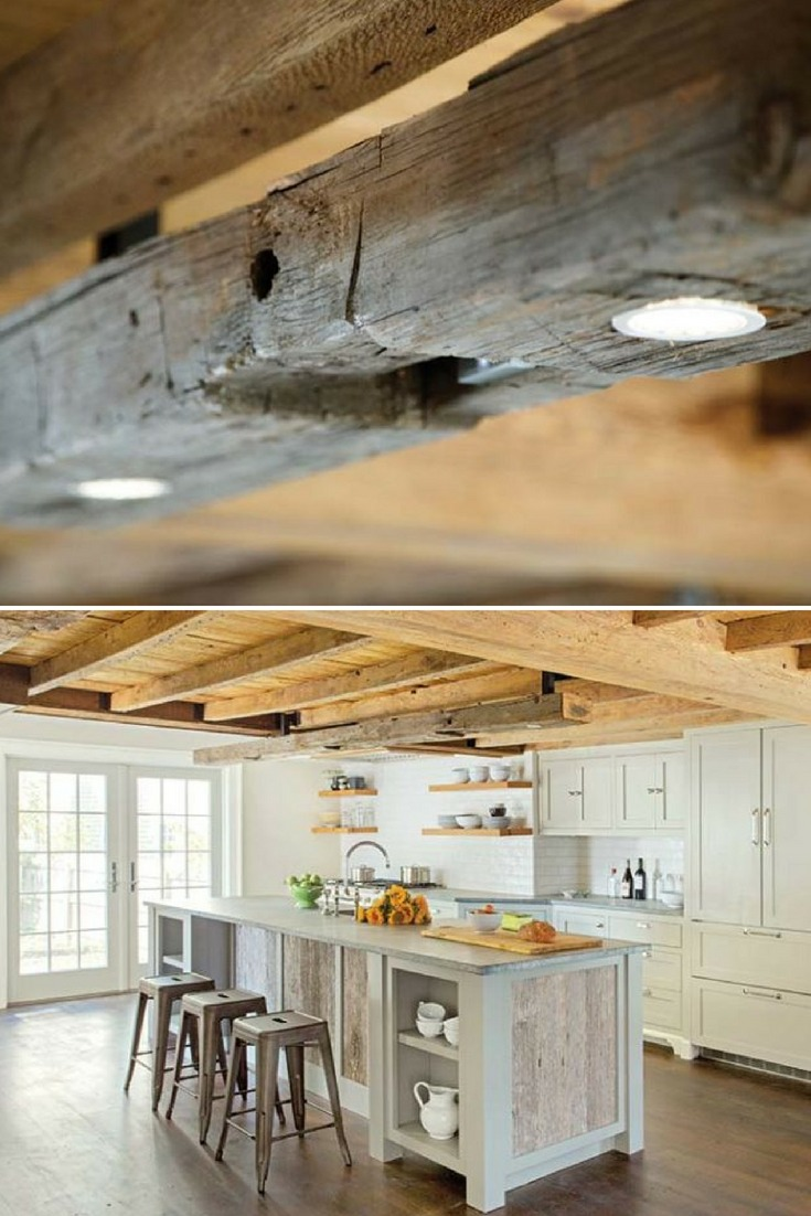 Modern Farmhouse Lighting with Rustic Wood Beam