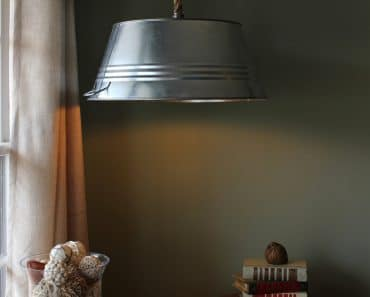 Rustic Steel Tub Hanging Rope Lamp