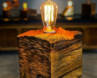 Solid wood block lamp with vintage plug