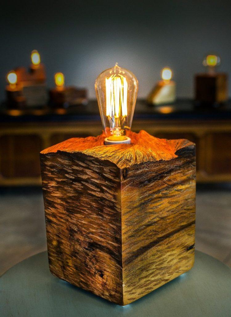 Solid wood block lamp with vintage plug