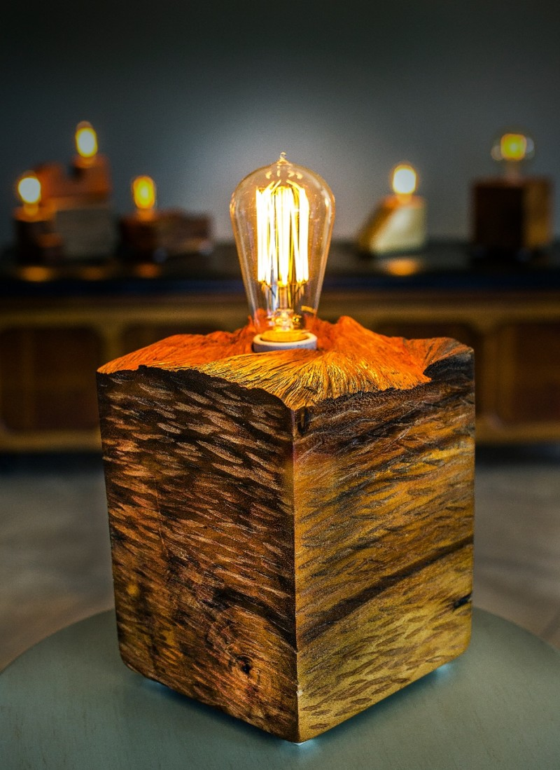Solid Wood Block Table Lamp With Vintage Plug Id Lights