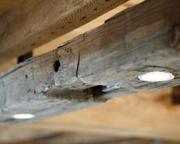 Wood Beam Light Fixture in Modern Farmhouse Kitchen