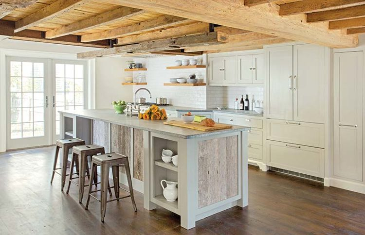 Modern Farmhouse Lighting With Rustic Wood Beam ID Lights - Farmhouse kitchen ceiling lights