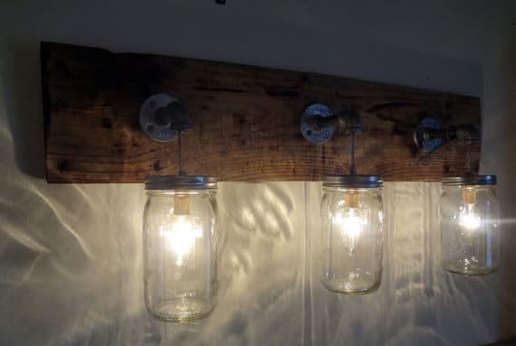Rustic Industrial Modern Mason Jar Light Fixture Porch By: Primitive Rustic Wood Oak Mason Jar Wall Sconce €� ID Lights