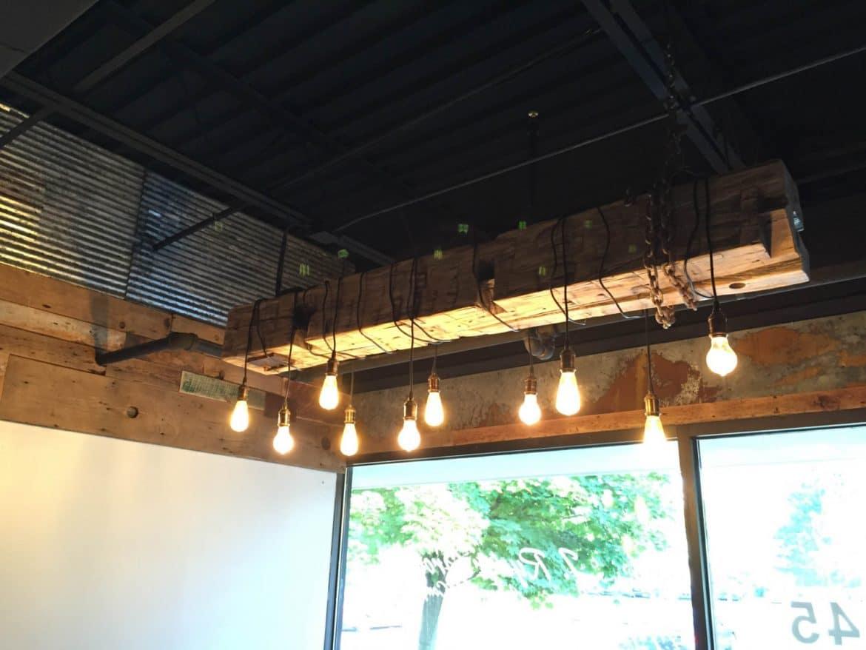 Barn wood beam rustic industrial chandelier id lights for Diy wood beam light fixture