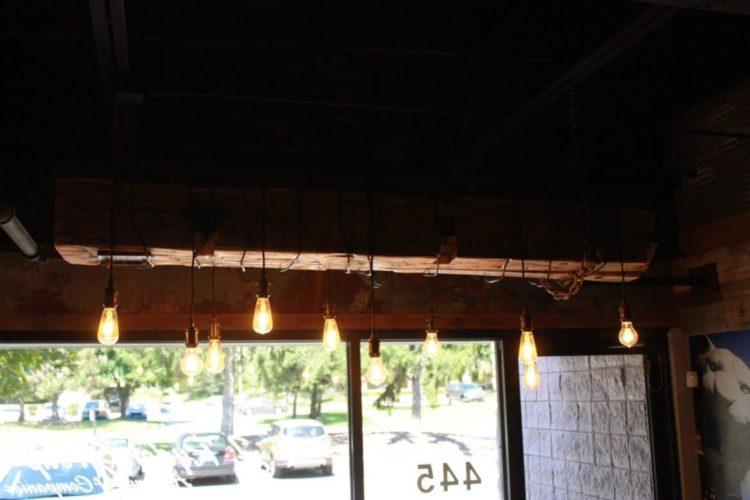 Barn Wood Beam Rustic Industrial Chandelier - wood-lamps, restaurant-bar, chandeliers