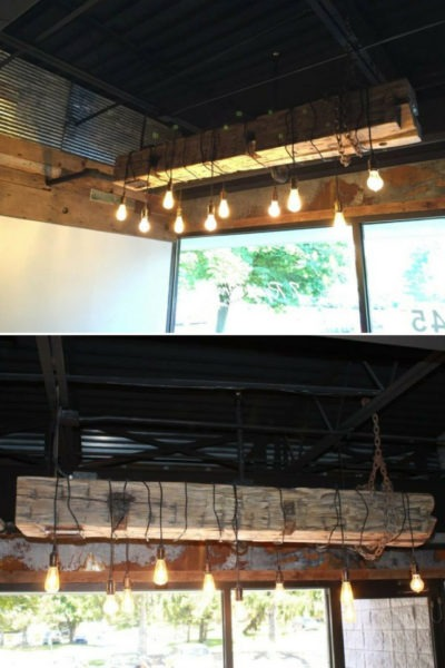 Barn Wood Beam Rustic Industrial Chandelier