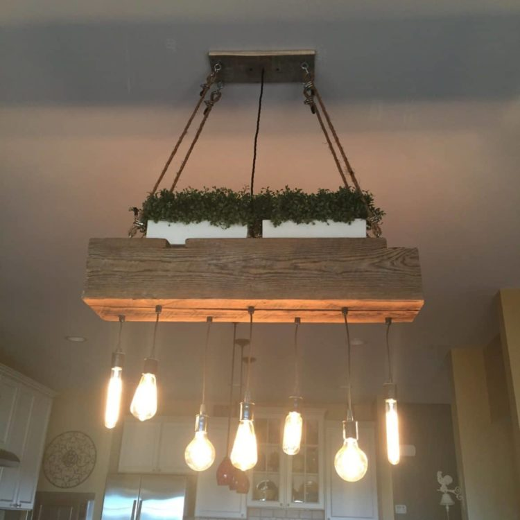 Custom Reclaimed Barn Wood Beam Chandelier Chandeliers Wood Lamps