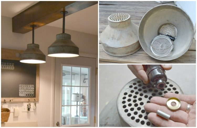 Diy galvanized colanders ceiling light tutorial id lights diy galvanized colanders ceiling light tutorial wood lamps flush mount aloadofball Image collections