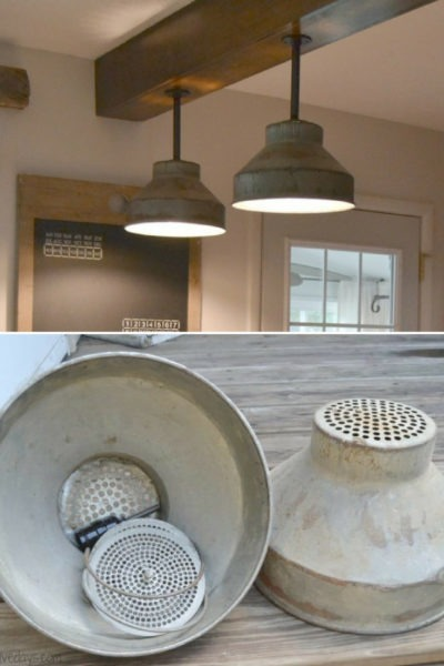 DIY: Galvanized Colanders Ceiling Light Tutorial