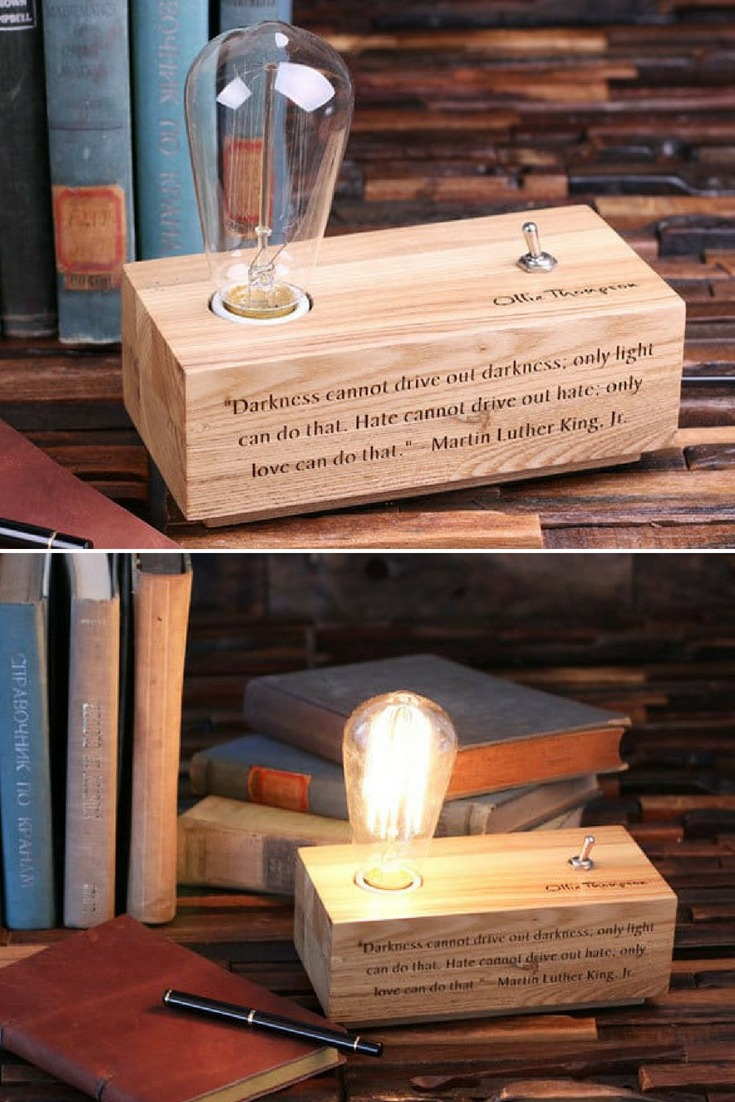 Perfect Handcrafted Edison Lamp personalized! Unique gift idea or special treat for yourself. You can engrave anything, clip art, graphics, etc. on the front panel and under the toggle switch, we can engrave a monogram, logo, etc. This is made of real hard wood. #desklamp #edison #handmadelighting #lamp #lightbulb #lighting #lightingdesign #rusticlighting #tablelam #vintagelighting #woodlamp #woodworking