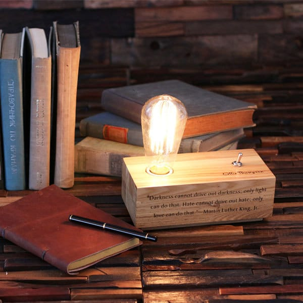 Lovely Custom Handmade Wood Desk Lamp