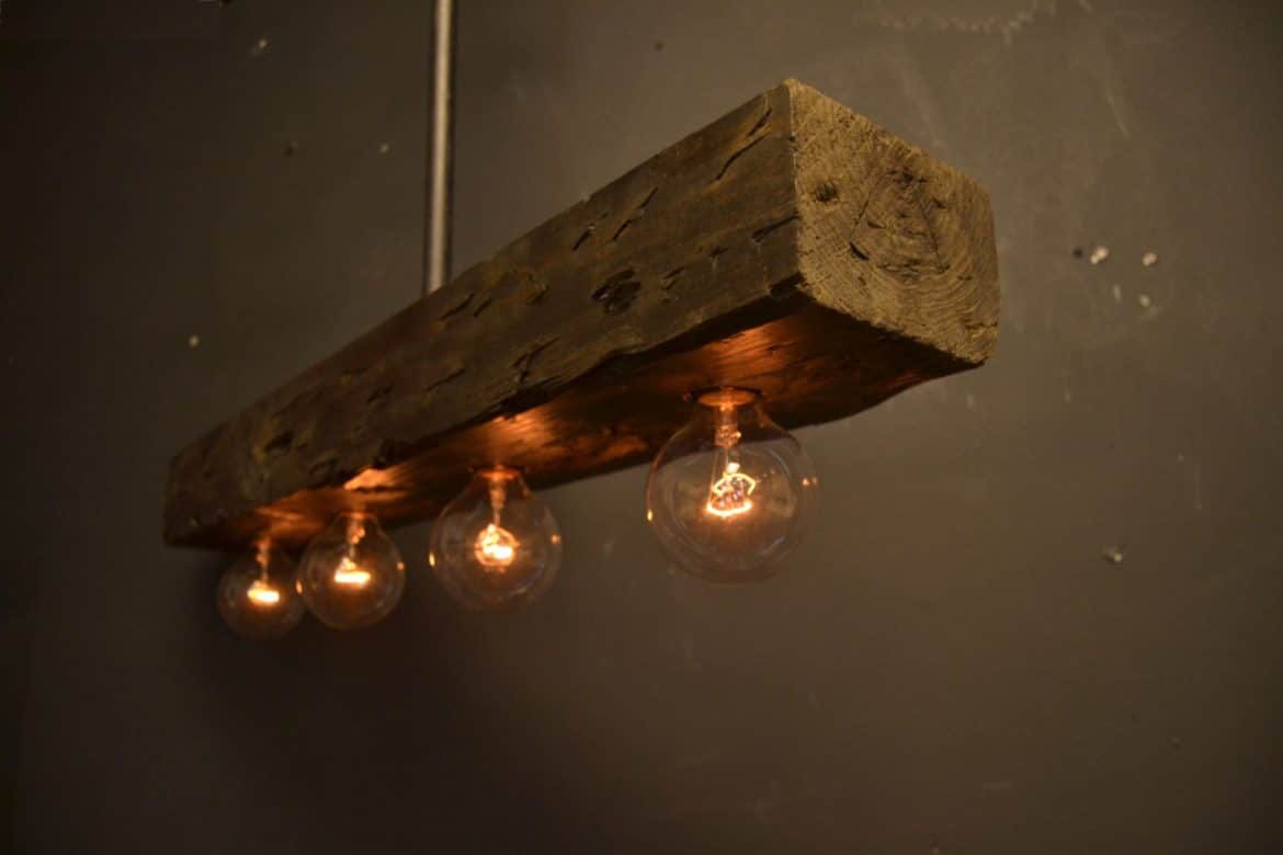 Reclaimed wood chandelier light fixture id lights for Ceiling lamp wood