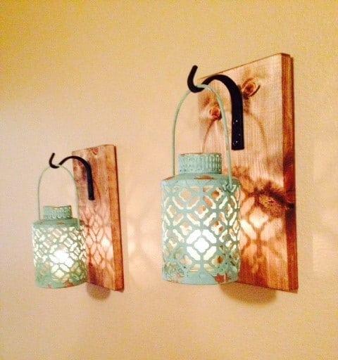 Rustic Wall Pallet Lantern