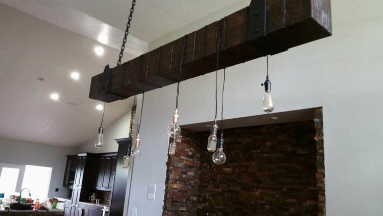 Rustic Industrial Wood Beam Chandelier - wood-lamps, restaurant-bar, chandeliers