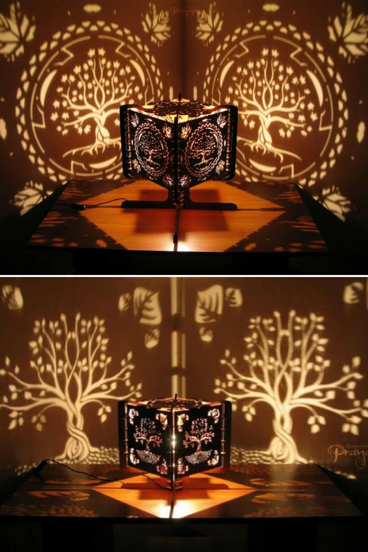Look what you can do with Wood fragments and Hand-carving - wood-lamps, table-lamps