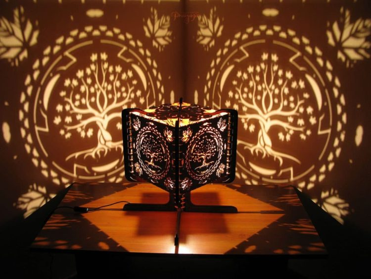 Look what you can do with Wood fragments and Hand-carving! Table Lamps Wood Lamps