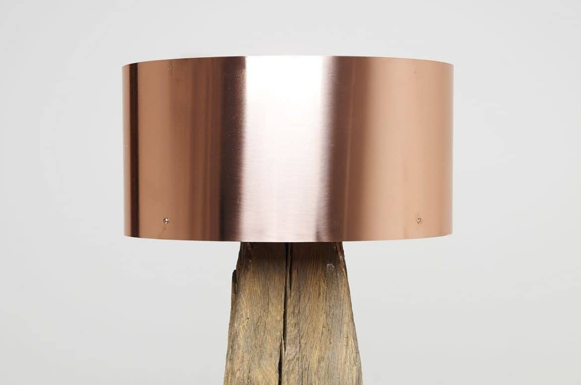 Copper meets bog oak table lamp id lights geotapseo Images