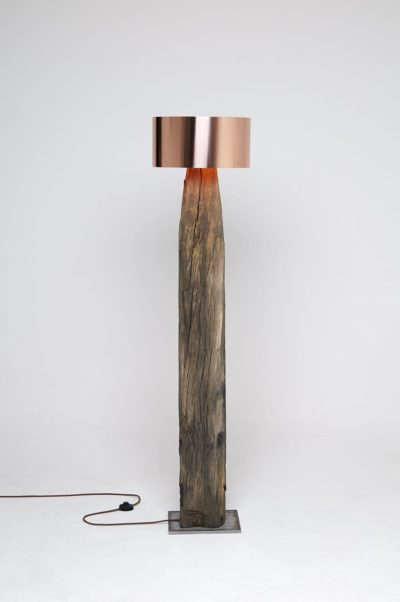 Copper Meets Bog Oak Table Lamp