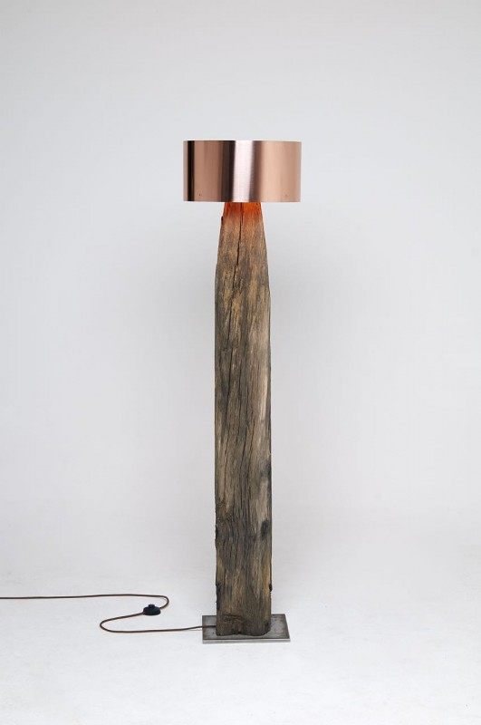 Copper Meets Bog Oak Table Lamp - wood-lamps, table-lamps