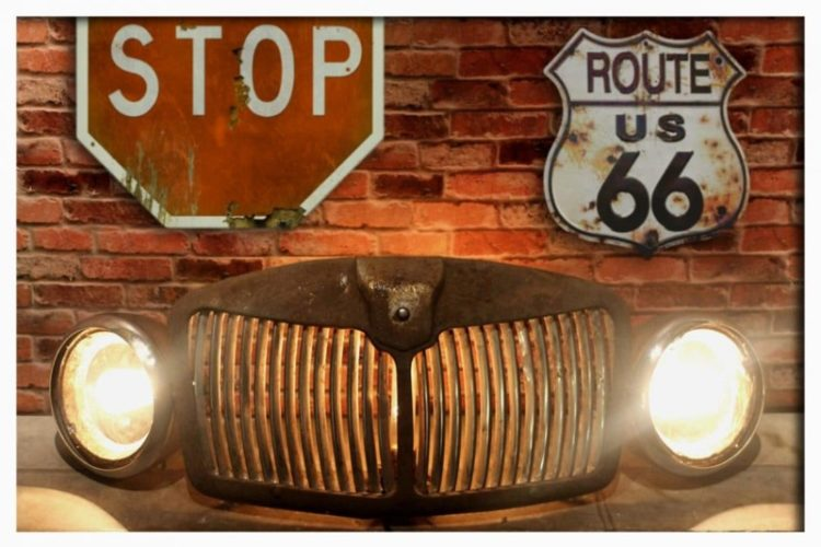 Rustic Vintage Automobile Car Grill Floor Lamp - restaurant-bar, floor-lamps