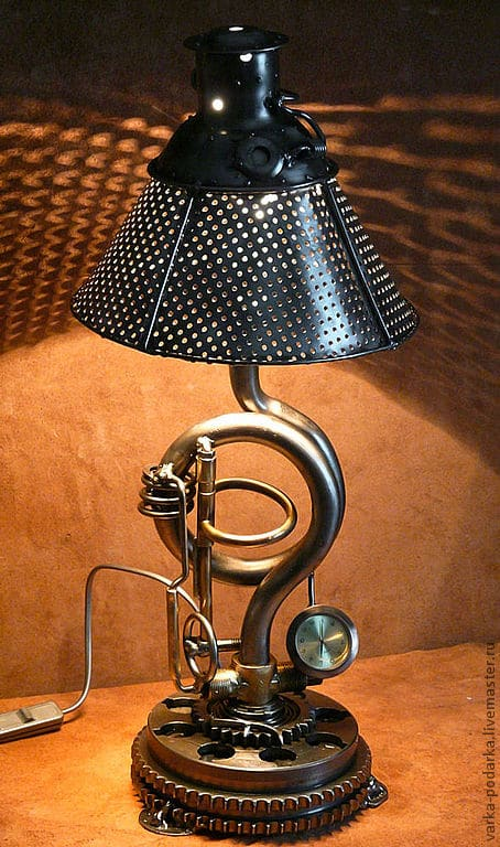 Steampunk Table lamp with Clock and Timer Table Lamps