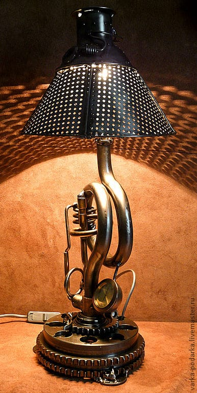 Steampunk Table Lamp With Clock And Timer Id Lights