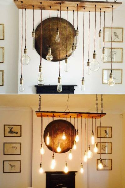 Vintage LED Bulb Wood Chandelier