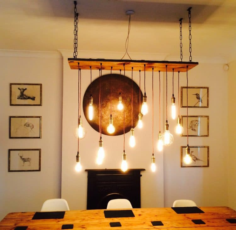 Vintage LED Bulb Wood Chandelier