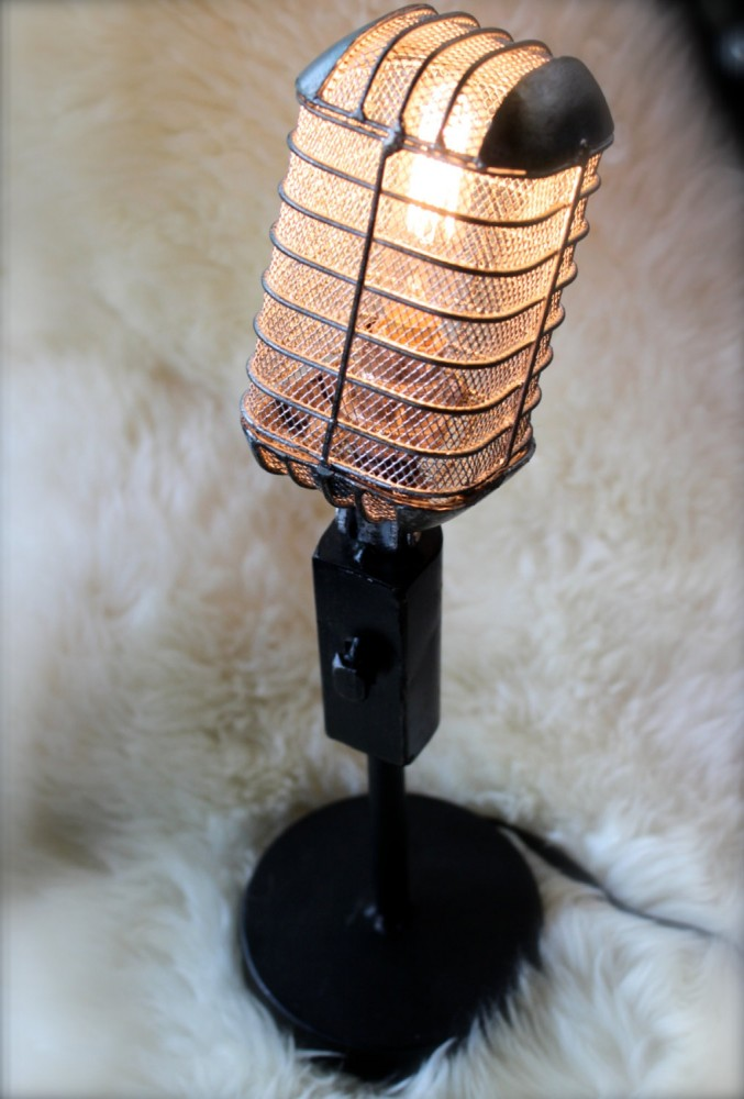 Vintage Microphone Light Fixture - table-lamps