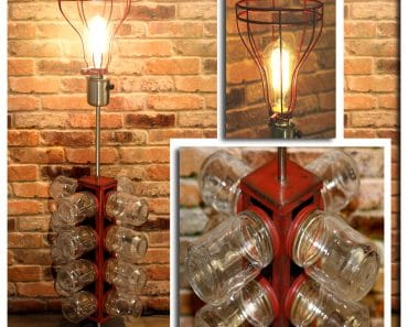 Re-purposed 24 Glass Jar Red Metal Tower Table Lamp