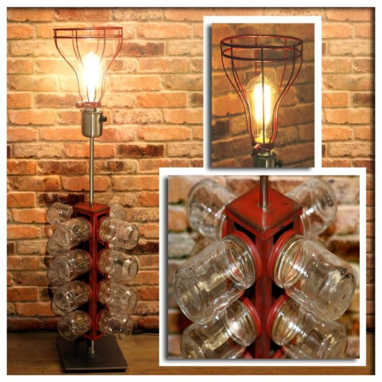 Re-purposed 24 Glass Jar Red Metal Tower Table Lamp