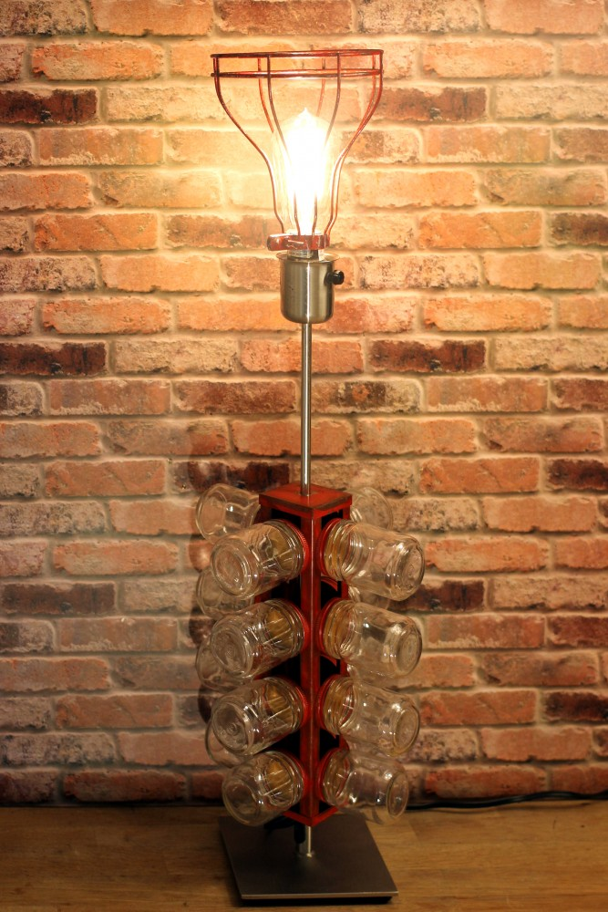 Re-purposed 24 Glass Jar Industrial Table Lamp - table-lamps
