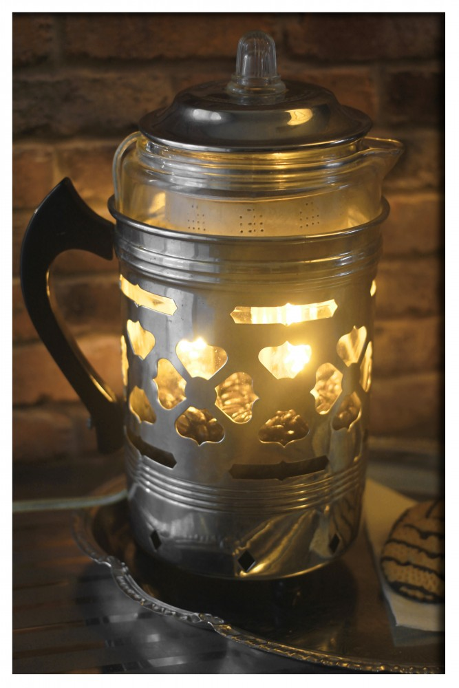 Re-purposed Froman Coffee Pyrex Percolator Table Lamp - table-lamps