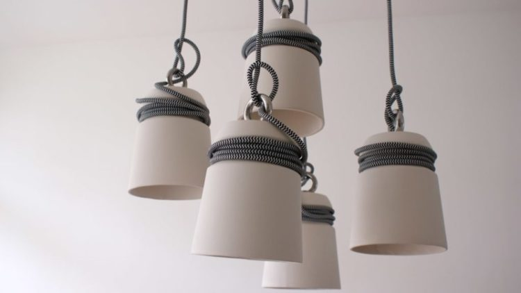Ceramic and Steel Cable Pendant Lighting Pendant Lighting